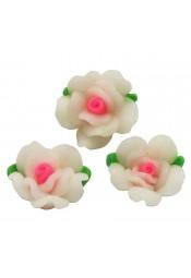 ดอกกุหลาบสีขาวชมพูเล็ก 5 ดอก