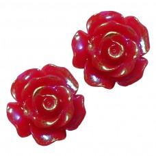 ดอกกุหลาบแดงพลาสติก 5 ชิ้น