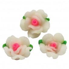 ดอกกุหลาบสีขาวชมพูใหญ่ 3 ดอก